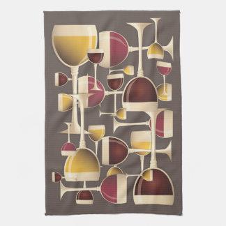 Vidrios de la toalla de cocina del vino blanco roj