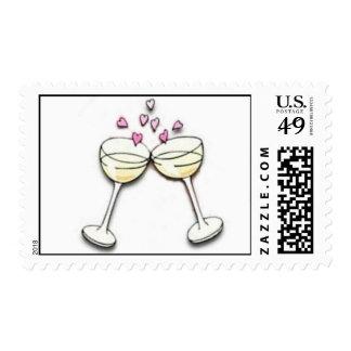Vidrios de la tostada de champán franqueo