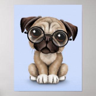 Vidrios de lectura lindos del perro de perrito del póster