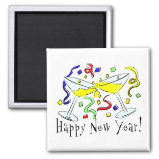 Vidrios de Martini de la Feliz Año Nuevo Imán Cuadrado