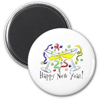 Vidrios de Martini de la Feliz Año Nuevo Imán Redondo 5 Cm