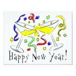 Vidrios de Martini de la Feliz Año Nuevo Invitación 10,8 X 13,9 Cm