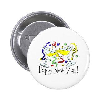 Vidrios de Martini de la Feliz Año Nuevo Pins