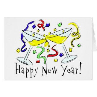 Vidrios de Martini de la Feliz Año Nuevo Felicitaciones