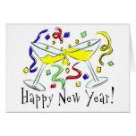 Vidrios de Martini de la Feliz Año Nuevo Tarjeta De Felicitación