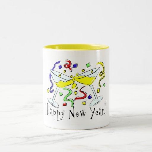 Vidrios de Martini de la Feliz Año Nuevo Tazas De Café