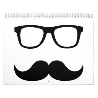 Vidrios del bigote calendario de pared