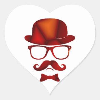 Vidrios del bigote del 1b derby del inconformista calcomania corazon