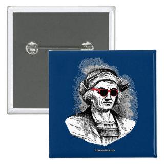 Vidrios del fiesta de Cristóbal Colón Pin Cuadrada 5 Cm