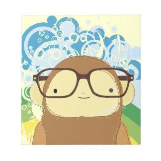 vidrios del mono del empollón el día del raibow blocs de papel