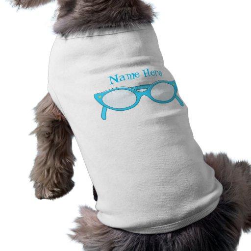 Vidrios del ojo de gato azul playera sin mangas para perro