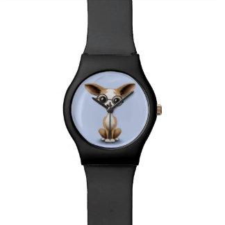 Vidrios del ojo de la chihuahua que llevan curiosa reloj
