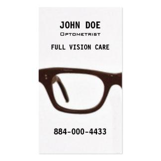 Vidrios del ojo de la optometría tarjetas de visita