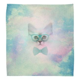 Vidrios divertidos adorables lindos del gatito de bandana