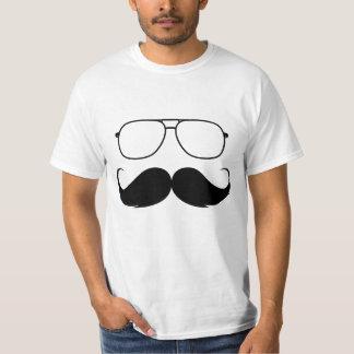 vidrios divertidos del bigote en negro playera