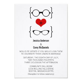 Vidrios Geeky que casan la invitación