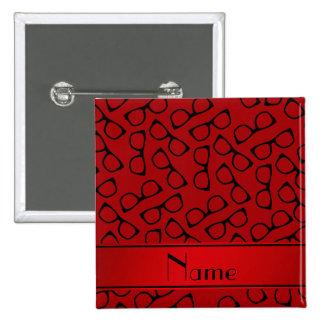 Vidrios negros rojos conocidos personalizados chapa cuadrada 5 cm