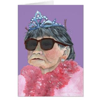 vidrios púrpuras de la princesa del cumpleaños tarjeton