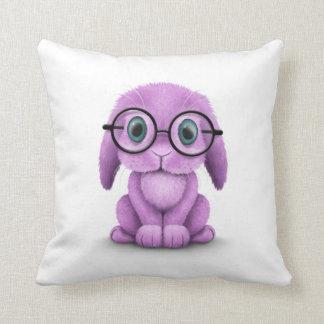 Vidrios que llevan del conejito púrpura lindo del  cojines