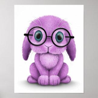 Vidrios que llevan del conejito púrpura lindo del  impresiones