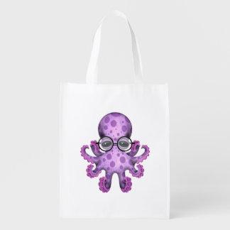 Vidrios que llevan del pulpo púrpura verde lindo bolsas reutilizables