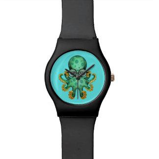 Vidrios que llevan del pulpo verde lindo del bebé relojes