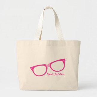 Vidrios rosados del empollón bolsas