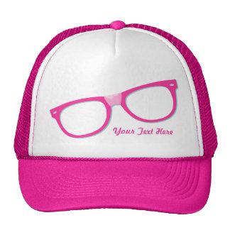 Vidrios rosados del empollón gorras de camionero