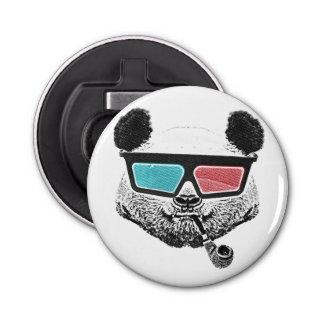 Vidrios tridimensionales de la panda del vintage abrebotellas redondo