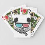 Vidrios tridimensionales de la panda del vintage baraja cartas de poker