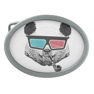 Vidrios tridimensionales de la panda del vintage hebillas cinturon ovales