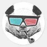 Vidrios tridimensionales de la panda del vintage pegatina redonda