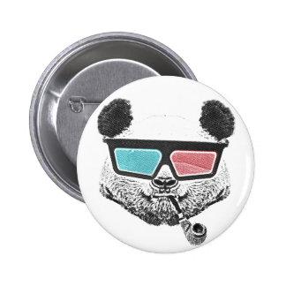 Vidrios tridimensionales de la panda del vintage pin