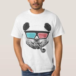 Vidrios tridimensionales de la panda del vintage playera