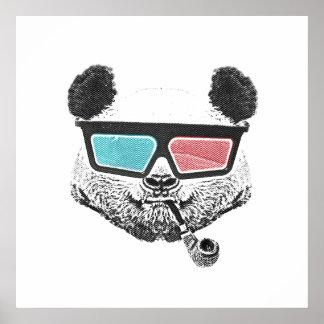 Vidrios tridimensionales de la panda del vintage póster