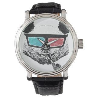 Vidrios tridimensionales de la panda del vintage reloj