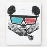 Vidrios tridimensionales de la panda del vintage mousepads