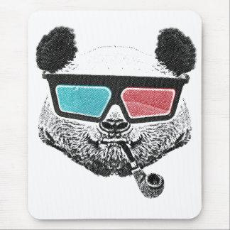 Vidrios tridimensionales de la panda del vintage tapete de ratón
