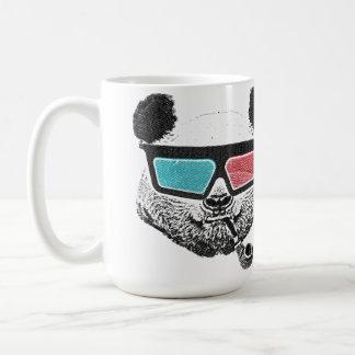 Vidrios tridimensionales de la panda del vintage taza