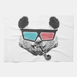 Vidrios tridimensionales de la panda del vintage toallas de cocina