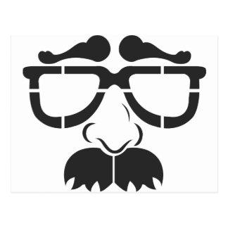 Vidrios y bigote divertidos tarjetas postales
