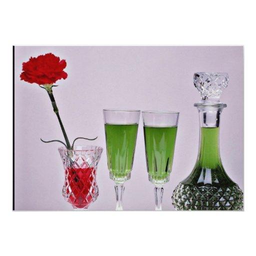 Vidrios y flores de la flor anuncio personalizado
