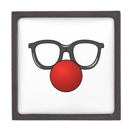 Vidrios y nariz del payaso caja de recuerdo de calidad