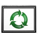 Vidriosos verdes reciclan símbolo calendario