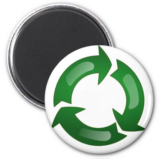 Vidriosos verdes reciclan símbolo imán de frigorífico