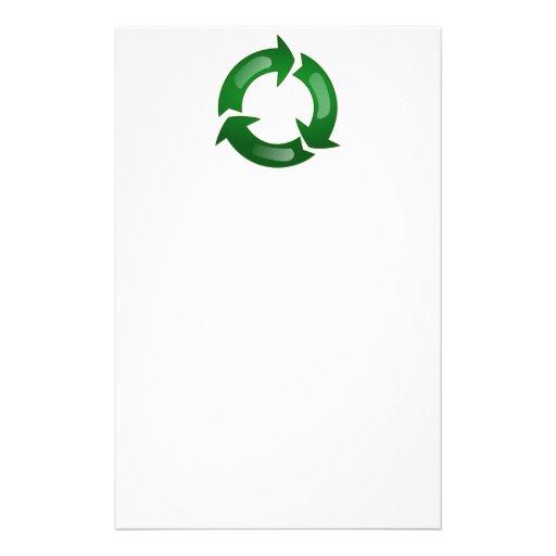 Vidriosos verdes reciclan símbolo papelería personalizada