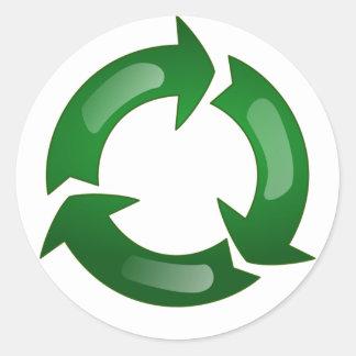 Vidriosos verdes reciclan símbolo etiqueta redonda