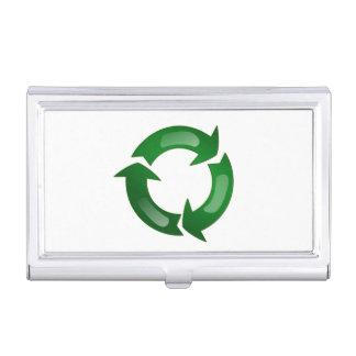 Vidriosos verdes reciclan símbolo caja de tarjetas de negocios