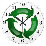 Vidriosos verdes reciclan símbolo relojes de pared