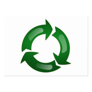 Vidriosos verdes reciclan símbolo tarjetas de visita grandes